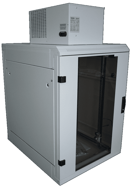 Picture of small server cabinet with roof climate